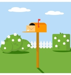Open the mailbox with a letter set on a green lawn vector image vector image
