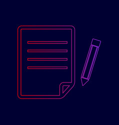 paper and pencil sign line icon with vector image