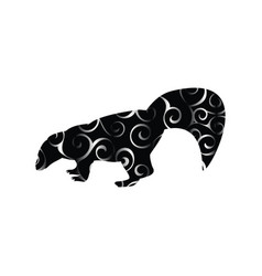 Skunk mammal color silhouette animal vector