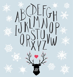 Hand Drawn Letters and Stag with Snowflakes Set vector image