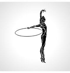 Rhythmic Gymnastics with Hoop Silhouette vector image
