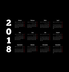 2018 year simple white calendar on german language vector image vector image