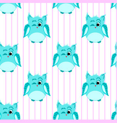blue-colored winking owls vector image vector image
