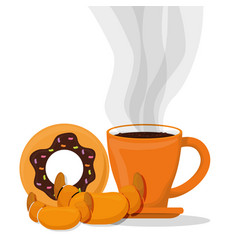 coffee cup bread dessert croissant donut vector image