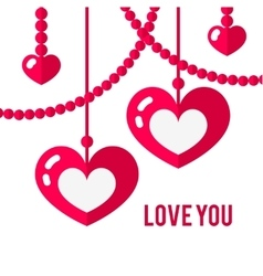 Happy valentines day card with red flat pair of vector