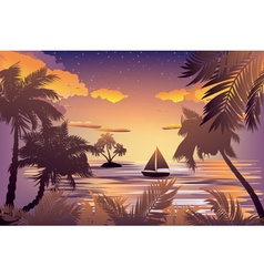 Tropical Island at Sunset vector image vector image