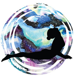 women silhouette upward facing dog yoga pose vector image vector image