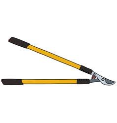 Yellow long garden shears vector