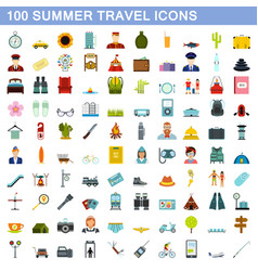 100 summer travel icons set flat style vector