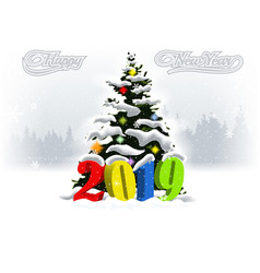 2019 happy new year snowfalling winter landscape vector image