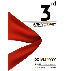 3 anniversary design with big red ribbon isolated vector