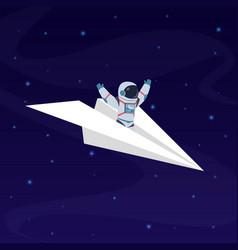 Astronaut on paper airplane cosmonaut space vector