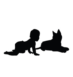 baby with cat silhouette vector image