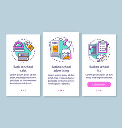 Back to school onboarding mobile app page screen vector