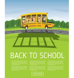Back to School Yellow Racing School Bus vector image