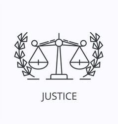 balance thin line icon justice concept outline vector image