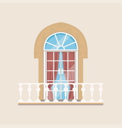 balcony with stone balusters and arched window vector image