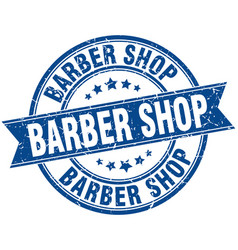 Barber shop round grunge ribbon stamp vector
