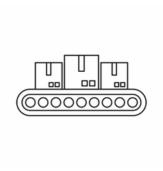Belt conveyor with load icon outline style vector