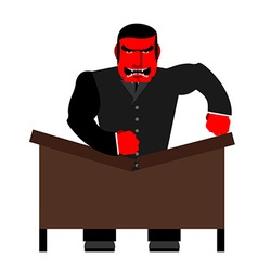 Big boss broke a table Red Businessman as loud in vector