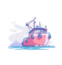 boat floating at sea vector image