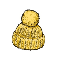 Bright yellow winter knitted hat with pompon vector image