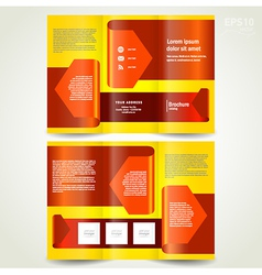 brochure design template leaflet red arrow ribbon vector image