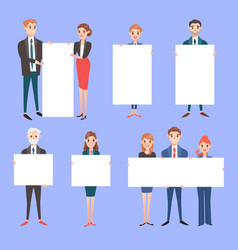 Businessman with banner business people vector