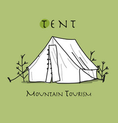 Camping tent for tourism sketch for your design vector