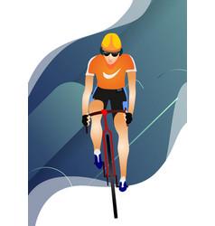 Cartoon sportsman bicyclist in helmet riding vector