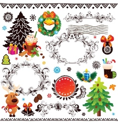Christmas and New Year decoration set vector image