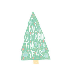 Christmas tree lettering vector