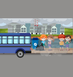 City scene with air pollution and many kids vector