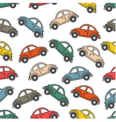 classic cars pattern in white background vector image