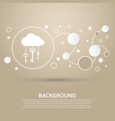 Cloud computer storage with lock icon on a brown vector
