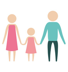 color silhouette pictogram parents with a girl vector image