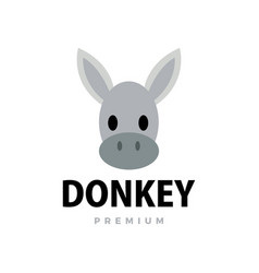 cute donkey flat logo icon vector image