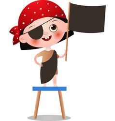 Cute kid girl in red bandana play pirate game vector