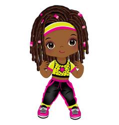 Cute little african american dancing hip hop vector