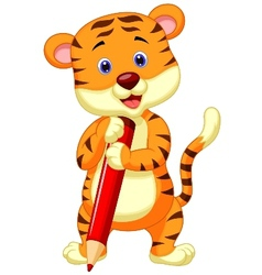 Cute tiger cartoon holding red pencil vector image
