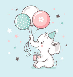 Cute white baby elephant holds a trunk balloons vector