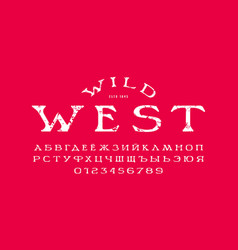 Cyrillic wide serif font in western style vector