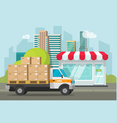 Delivery truck loaded with parcel boxes near store vector
