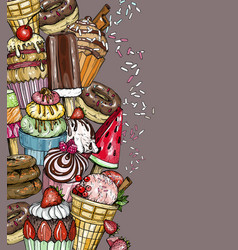 dessert background with cupcakes and ice cream vector image