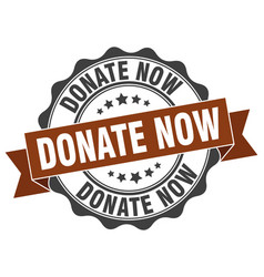Donate now stamp sign seal vector
