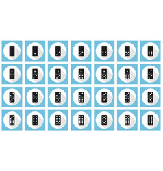 Double-six dominoes flat icon set vector