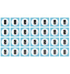 Double-six dominoes flat icon set vector