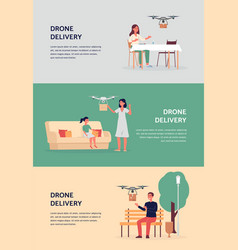 Drone delivery banner set cartoon people vector