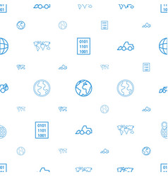 earth icons pattern seamless white background vector image