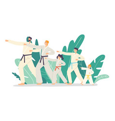 Family training martial arts father mother and vector